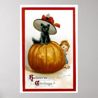 Fashionable Halloween Kitty Poster