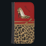 """Fashionable Jaguar Print Samsung S4 Wallet Case<br><div class=""""desc"""">Fashionable animal print wallet style Samsung Galaxy S4 case, with graphics of a brown and black jaguar fur pattern background, on the bottom half and a solid dark red, on the top of the case. Graphics of a jaguar animal print pair of stiletto high heels and a tan ribbon, decorates...</div>"""