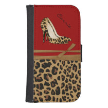 Fashionable Jaguar Print Samsung S4 Wallet Case