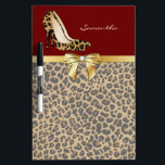 "Fashionable Jaguar Stiletto Heels Dry Erase Board<br><div class=""desc"">Stylish and fashionable dry erase board done in a brown and black muted jaguar fur pattern. A deep red on top of the board, with graphics of a gold tone ribbon and bow and a spotted jaguar print pair of stiletto high heels. Personalize the tan text for yourself or as...</div>"