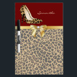 """Fashionable Jaguar Stiletto Heels Dry Erase Board<br><div class=""""desc"""">Stylish and fashionable dry erase board done in a brown and black muted jaguar fur pattern. A deep red on top of the board, with graphics of a gold tone ribbon and bow and a spotted jaguar print pair of stiletto high heels. Personalize the tan text for yourself or as...</div>"""