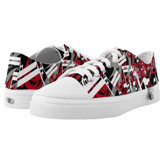 Fashionable jumbled music notes red gray white Low-Top sneakers