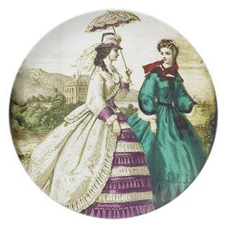 FASHIONABLE LADIES VINTAGE 55 MELAMINE PLATE