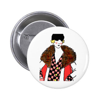 fashionable lady 2 inch round button