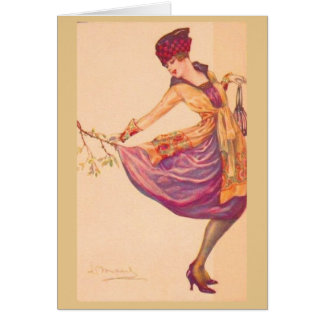 Fashionable Lady in a Snag, Card