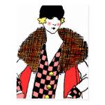 fashionable lady postcard