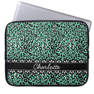 Fashionable Mint Leopard Print and Lace Computer Sleeves