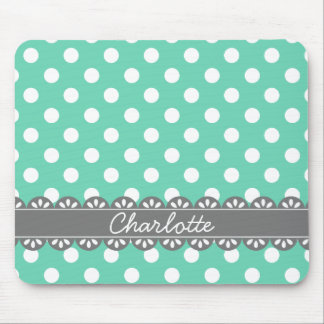 Fashionable Mint Polka Dots and Grey Lace Mouse Pad