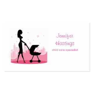 Fashionable Mommy Pushing Baby Carriage Business Card