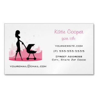Fashionable Mommy Pushing Baby Carriage Business Card Magnet