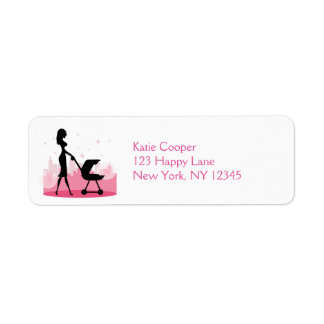 Fashionable Mommy Pushing Baby Carriage Label