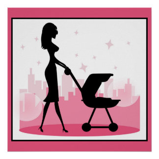 Fashionable Mommy Pushing Baby Carriage Poster