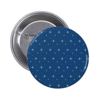 Fashionable Monaco Blue And Bright Stars Pattern Pinback Button