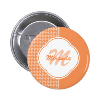Fashionable Orange Houndstooth Monogram and Name 2 Inch Round Button