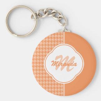 Fashionable Orange Houndstooth Monogram and Name Basic Round Button Keychain