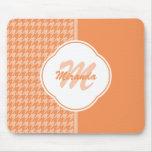 Fashionable Orange Houndstooth Monogram and Name Mouse Pad