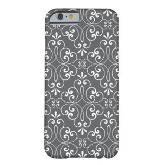 Fashionable ornate damask pattern white and gray barely there iPhone 6 case