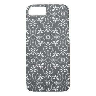 Fashionable ornate damask pattern white and gray iPhone 7 case