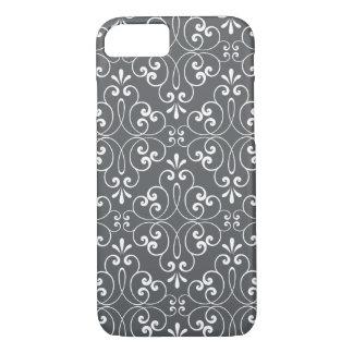 Fashionable ornate damask pattern white and gray iPhone 8/7 case