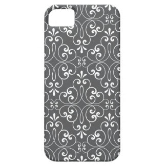 Fashionable ornate damask pattern white and gray iPhone SE/5/5s case