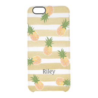 Fashionable Pineapple Pattern with Gold Stripes Clear iPhone 6/6S Case