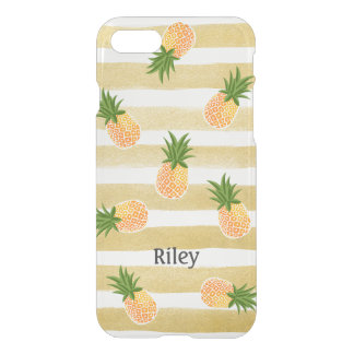Fashionable Pineapple Pattern with Gold Stripes iPhone 7 Case