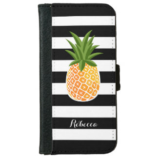 Fashionable Pineapple with Black White Stripes Wallet Phone Case For iPhone 6/6s