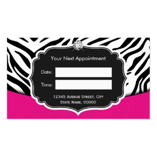 Fashionable Pink Black Zebra Print Appointment Business Card