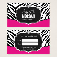 Fashionable Pink Black Zebra Print Appointment Business Card at Zazzle