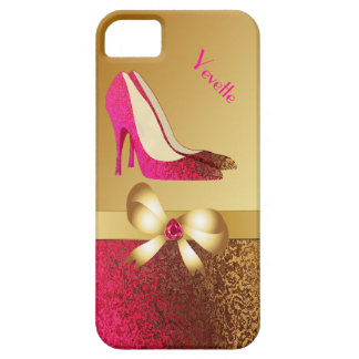 Fashionable Pink & Gold Tone Stiletto iPhone 5 Cover