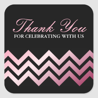 Fashionable pink gradient chevron border thank you square sticker