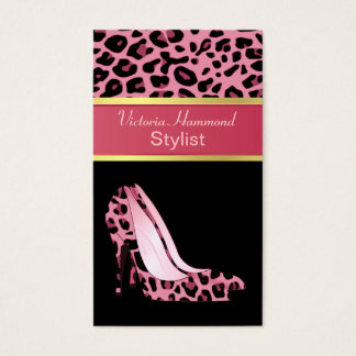 Fashionable Pink Jaguar Print Business Card