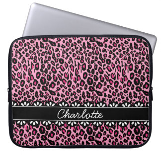 Fashionable Pink Leopard Print and Lace Laptop Computer Sleeve