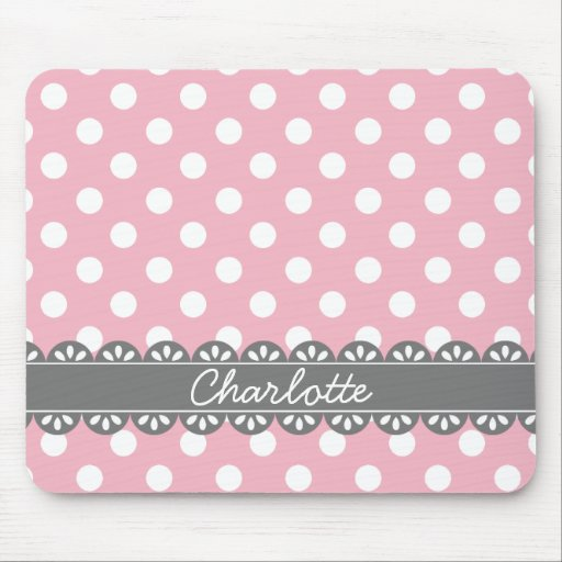 Fashionable Pink Polka Dots and Grey Lace Mouse Pad