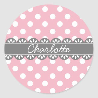 Fashionable Pink Polka Dots and Lace Round Sticker