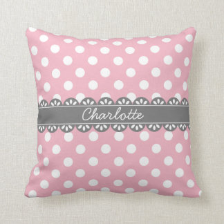 Fashionable Pink Polka Dots and Lace Throw Pillow