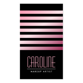 Fashionable pink stripes stylish black boutique or business card