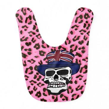 Halloween Themed Fashionable Punk Skull wearing Union Jack top hat Baby Bib