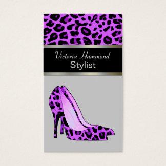 Fashionable Purple Jaguar Print Business Card