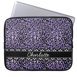Fashionable Purple Leopard Print and Lace Laptop Sleeve
