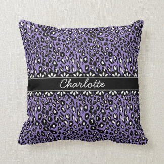 Fashionable Purple Leopard Print and Lace Pillows