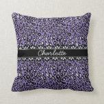 Fashionable Purple Leopard Print and Lace Throw Pillow