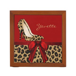 Fashionable Red and Jaguar Custom Desk Organizer