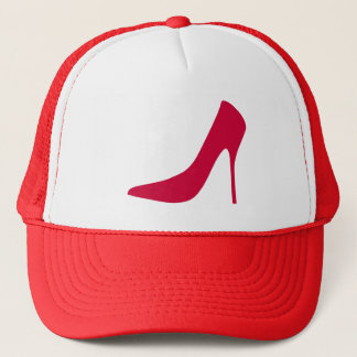 FASHIONABLE RED HIGH HEELS TRUCKER HAT