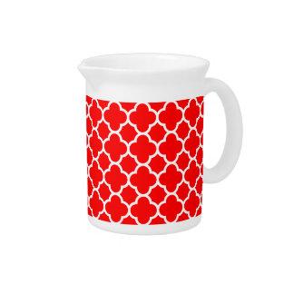 Fashionable Red White Quatrefoil Pattern Pitchers