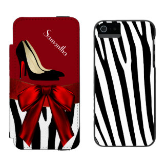 Fashionable Red & Zebra Print iPhone 5 Wallet Case