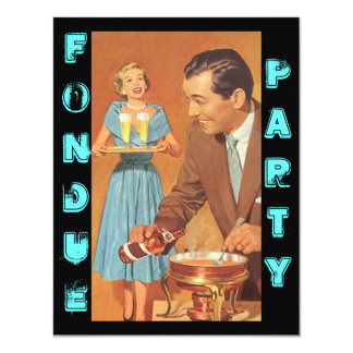 Fashionable Retro Fondue Party Theme Invitations
