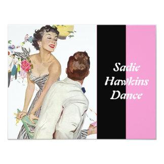 """Fashionable Retro Sadie Hawkins Dance Invitations 4.25"""" X 5.5"""" Invitation Card"""