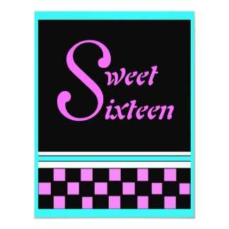 Fashionable Retro Sweet Sixteen Party Invitations