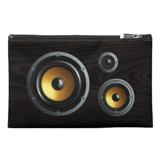 Fashionable Retro Wood Grain Speaker Trio Travel Accessory Bags